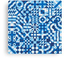 Blue White Irregular Geometric Blocks Pattern Canvas Print