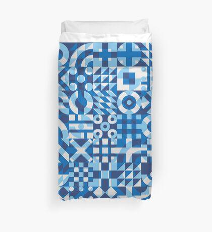Blue White Irregular Geometric Blocks Pattern Duvet Cover