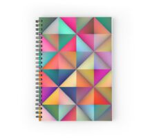 Multicolor Triangle Square Tiles Geometric Pattern Spiral Notebook