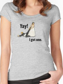 Bride dragging reluctant groom, Yay! I got one. Women's Fitted Scoop T-Shirt
