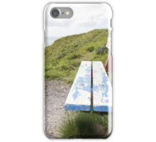 view of beach and sea in Ballybunion with bench iPhone Case/Skin