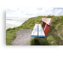 view of beach and sea in Ballybunion with bench Canvas Print