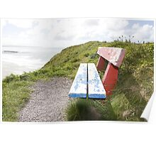 view of beach and sea in Ballybunion with bench Poster