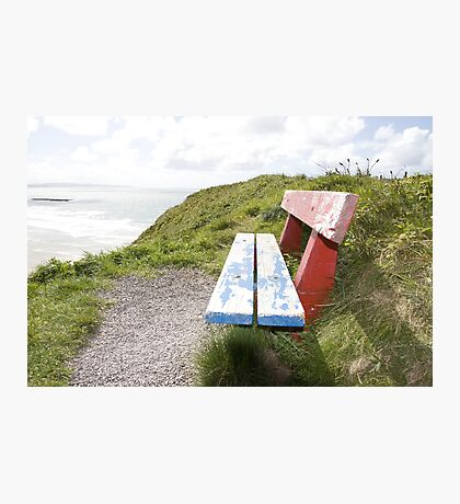 view of beach and sea in Ballybunion with bench Photographic Print