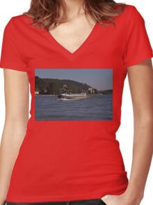 Rhine Barge Zeus Women's Fitted V-Neck T-Shirt