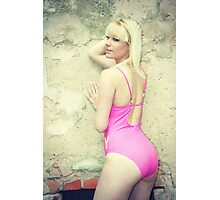 Pink Swimsuit Blonde Photographic Print