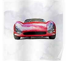 Vintage Supercar Watercolor Poster