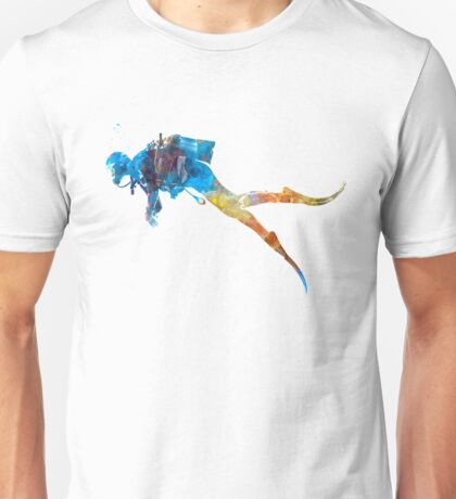 Man scuba diver 01 in watercolor Unisex T-Shirt