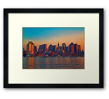 USA. Massachusetts. Boston. Downtown. Sunset. Framed Print