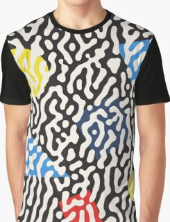 Jumble Black and White Drips And Color Polygons Pattern Graphic T-Shirt