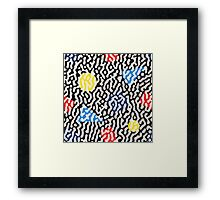 Jumble Black and White Drips And Color Polygons Pattern Framed Print