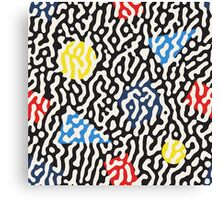 Jumble Black and White Drips And Color Polygons Pattern Canvas Print