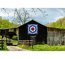 Kentucky Barn Quilt - Carpenters Wheel Photographic Print