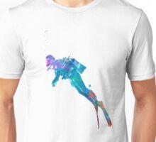 Man scuba diver 02 in watercolor Unisex T-Shirt