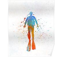 Man scuba diver 04 in watercolor Poster