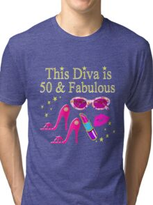 GORGEOUS AND CHIC 50 AND FABULOUS Tri-blend T-Shirt