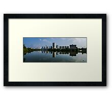 Panorama Reflections of the Austin Skyline Framed Print