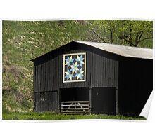 Kentucky Barn Quilt - Snow Crystals Poster