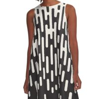Rounded Lines Halftone Transition Pattern Print Design A-Line Dress