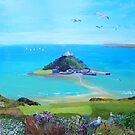 St Michael's Mount with seagulls by Jenny Urquhart