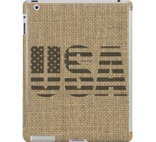 Vintage Natural Beige Burlap USA Flag in Rustic Black Text iPad Case/Skin
