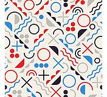 Jumble Shapes in Blue Red White Color Geometric Retro Pattern  Photographic Print