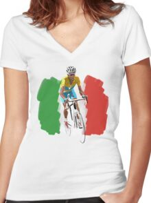 Maillot Jaune , Italy Flag Women's Fitted V-Neck T-Shirt