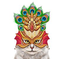 Creative portrait a cat in a mask Photographic Print