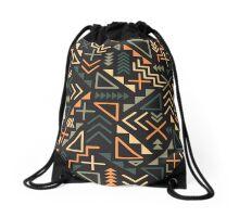 Retro Jumble Geometric Shapes Green Orange Color Pattern Abstract Print Drawstring Bag