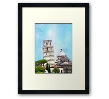 Watercolor painting of the Leaning tower in Pisa, Italy Framed Print