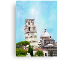Watercolor painting of the Leaning tower in Pisa, Italy Canvas Print