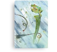 Madagascan Tree Frog on Pitcher Plant With Raindrops Canvas Print