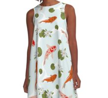 Japanesse Fish Pattern Background A-Line Dress