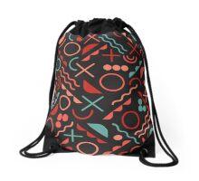 Jumble Geometric Line Shapes Pink Blue Color Hipster Pattern  Drawstring Bag
