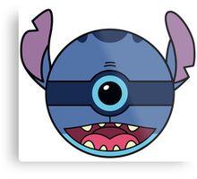 Stitch Pokemon Ball Mash-up Metal Print