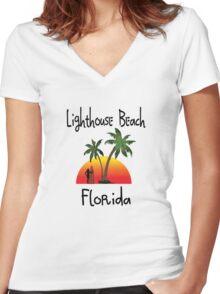 Lighthouse Beach Florida. Women's Fitted V-Neck T-Shirt