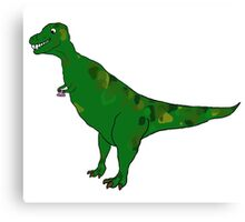Dinosaurs drink tea Canvas Print