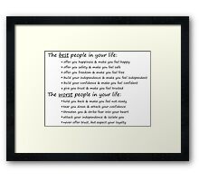 The Best and Worst People In Life Framed Print