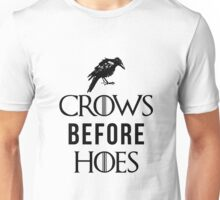 Crows Before Hoes in White Unisex T-Shirt