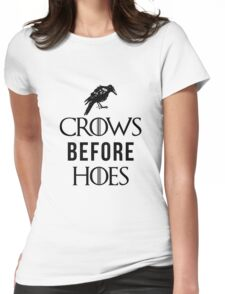 Crows Before Hoes in White Womens Fitted T-Shirt