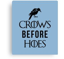 Crows Before Hoes in White Canvas Print