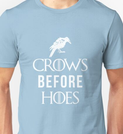 Crows Before Hoes in Blue Unisex T-Shirt