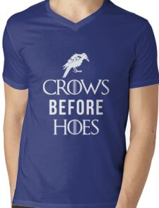 Crows Before Hoes in Blue Mens V-Neck T-Shirt