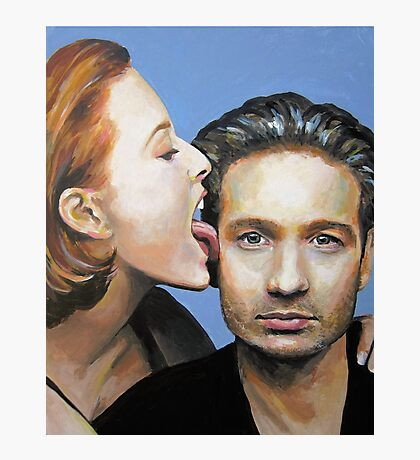 David Duchovny Gillian Anderson X Files Lick Pic Painting Photographic Print