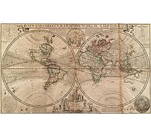 Vintage Map of The World (1709) Photographic Print