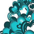 Turquoise Falling Hearts by treasured-gift
