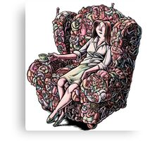 Woman Sitting in Chair Made of Her Friends Canvas Print