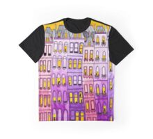 Pink & Purple Townhouse Cats Graphic T-Shirt