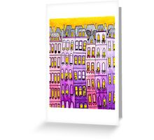 Pink & Purple Townhouse Cats Greeting Card