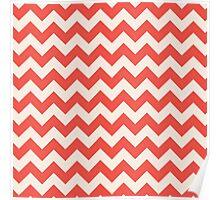 Beautiful Chevron pattern red hot retro Poster